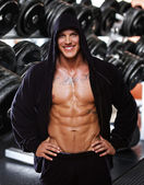 Image of muscle man in gym — Stock Photo