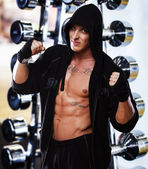 Professional fighter in the gym — Stock Photo