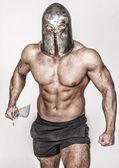Madieval bojovník se dostává na boj — Stock fotografie