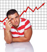 Nice man in striped shirt in front of graphic — Stock Photo