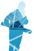 Hardworkers silhouette that filled with image of high rise build — Stockfoto