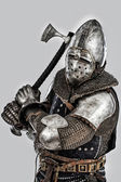 Armored knight is ready to attack — Stock Photo