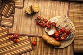 Domates ve ekmek — Stok fotoğraf