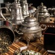 Stock Photo: Retro brass samovar on table