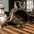 Scattered tea and old teapot — Stock Photo #34291503