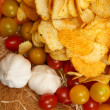 Stock Photo: Appetizing image of vegetables and chips