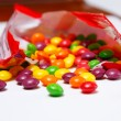 Openned pack with skittles in it — Stock Photo #34291943