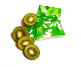 Soap and kiwi on the white background — Stock Photo