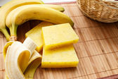 Soap and banana on the table — Stock Photo