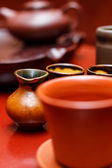De-focused ancient tea ceremony cups — Stock Photo