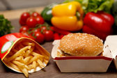 BigMac and french fries on a healthy background — Stock Photo