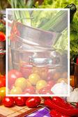 Grönsaker i metalliska köksredskap — Stockfoto