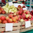 Stock Photo: Crates with tasty apples on market