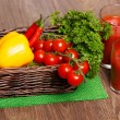 Stock Photo: Basket with veggies and tomato juice