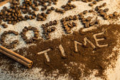 Coffee time text made of beans and ground coffee — Stock Photo