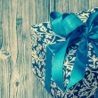 Stock Photo: Vintage picture of blue gift box