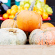 Stock Photo: Variety of farm pumpkins in box