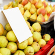 Stock Photo: Pears stacked on market stoll