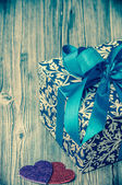 Vintage picture of a blue gift box — Foto Stock