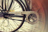Wheel of an old rusted bicycle — Stock Photo