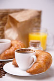 Continental breakfast with coffee and juice — Stock Photo
