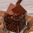 Stock Photo: Coffee, cinnamon and chocolate in jar