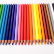 Stock Photo: A rainbow of color pencils