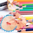 A sharpener and sharp color pencils — Stock Photo