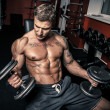 Tattooed bodybuilder with two dumbbells — Stock Photo