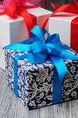 Three gift boxes of different color — Foto Stock