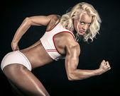 Blonde athlete ready to run — Stock Photo