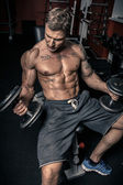 Muscled guy lifting dumbbells — Stock Photo
