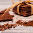 Stockfoto: Crushed chocolate crumbs on foreground