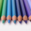 Green, blue and violet coloring pencils — Stock Photo
