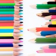 New and old color pencils in front of each other — Stock Photo