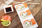 Traditional japanese sushi on a white plate — Stock Photo