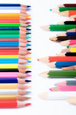 New and old color pencils in front of each other — Stockfoto