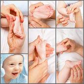Newborn foot massage — Stock Photo