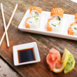Stock Photo: Set of deluxe sushi in plate