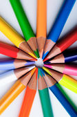 Coloring pencils pointing at candy pattern — Foto Stock