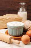 Baking ingredients for homemade bread — Stock Photo