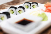 A set of vegeterian sushi in the background — Stock Photo