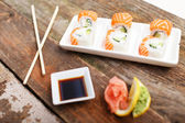 A set of deluxe sushi in a plate — Stock Photo