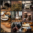 Tea-themed collage with jars, cookies, cakes, pots and saucers — Stock Photo