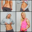 Stock Photo: Fit and very muscled blonde posing in pink and gray