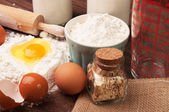 Home ingredients on the table for bread preparation — Stock Photo