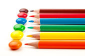Candies and pencils — Foto de Stock