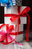 Gift boxes with ribbon — Stok fotoğraf