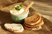Mousse and bread — Stock Photo