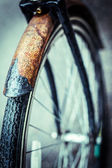 Rusted bicycle wheel — Stock Photo